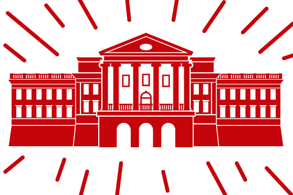 Red graphic of Bascom Hall on a white background, surrounded by red streaks
