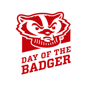 "a red graphic of Bucky Badger with the words ""Day of the Badger"""