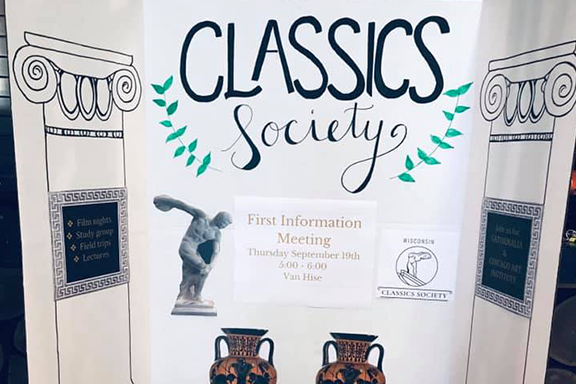 The Classics Society trifold at the Student Org Fair