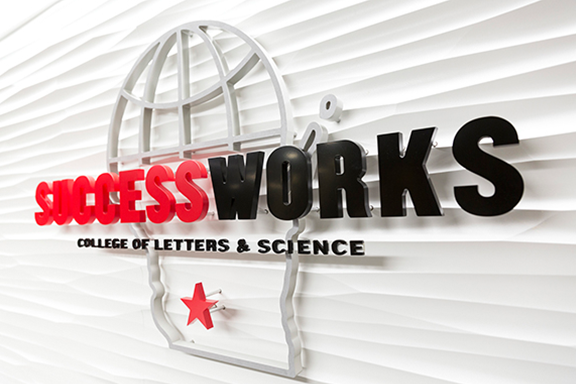SuccessWorks logo hanging on a wall