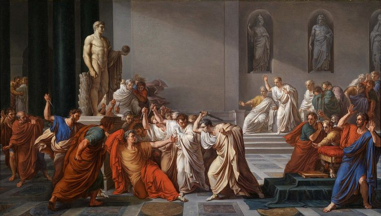 1798 painting by Vincenzo Camuccini called The Death of Caesar