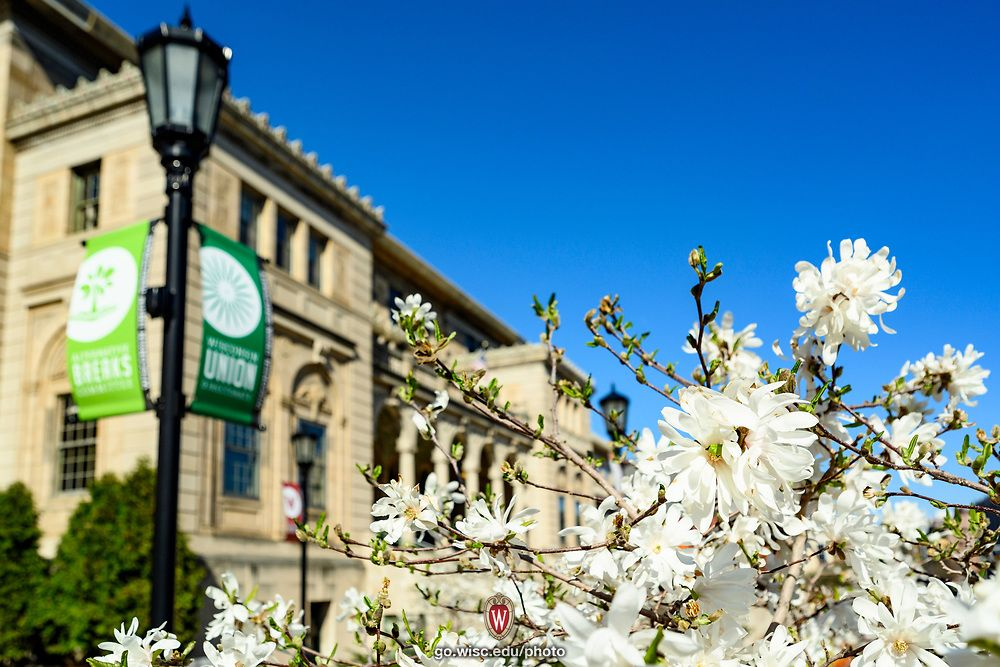 The Memorial Union is pictured with blooming spring flowers in the late afternoon sun.